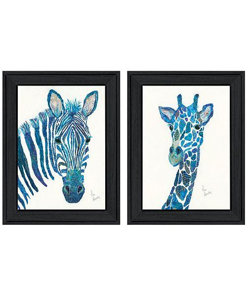 "Trendy Decor 4U Trendy Decor 4U Blue Zebra Giraffe 2-Piece Vignette by Lisa Morales, Black Frame, 15"" x 19"""