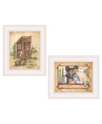 "Bear / Still Waiting 2-Piece Vignette by Mary Ann June, White Frame, 13"" x 11"""