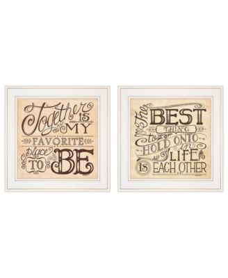 """Together / Each Other 2-Piece Vignette by Deb Strain, White Frame, 15"""" x 15"""""""