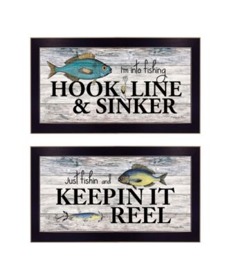 """Fishing Combo 2-Piece Vignette by Robin-Lee Vieira, Black Frame, 20"""" x 11"""""""