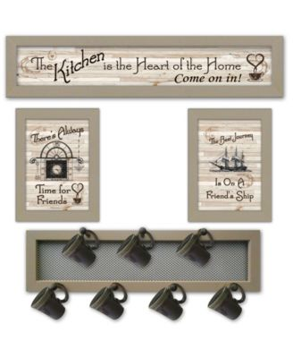 """Kitchen Collection VI 4-Piece Vignette with 7-Peg Mug Rack by Millwork Engineering, Taupe Frame, 32"""" x 10"""""""