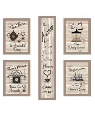 "Kitchen Friendship Collection 5-Piece Vignette by Millwork Engineering, Taupe Frame, 10"" x 32"""