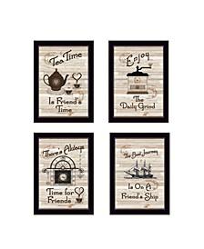 """Trendy Decor 4U Friendship Collection 4-Piece Vignette by Millwork Engineering, Black Frame, 10"""" x 14"""""""