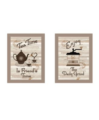 """Enjoy Tea Time 2-Piece Vignette by Millwork Engineering, Taupe Frame, 14"""" x 10"""""""