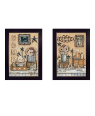 """Where Family Friends Gather II 2-Piece Vignette by Mary Ann June, Black Frame, 14"""" x 20"""""""