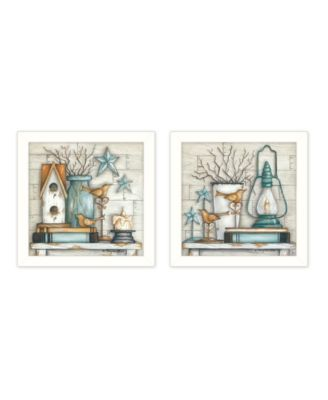"""Mary's Country Shelf Collection By Mary June, Printed Wall Art, Ready to hang, White Frame, 28"""" x 14"""""""