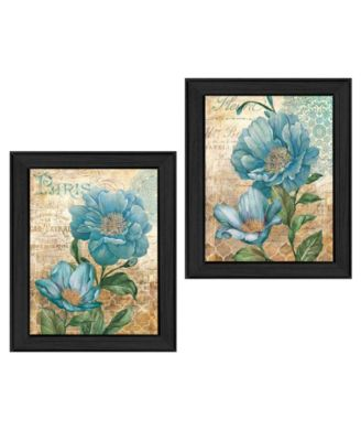 """Paris Blue Collection By Ed Wargo, Printed Wall Art, Ready to hang, Black Frame, 30"""" x 19"""""""