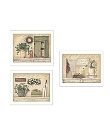 """Trendy Decor 4U Garden Bath Collection By Pam Britton, Printed Wall Art, Ready to hang, White Frame, 42"""" x 18"""""""