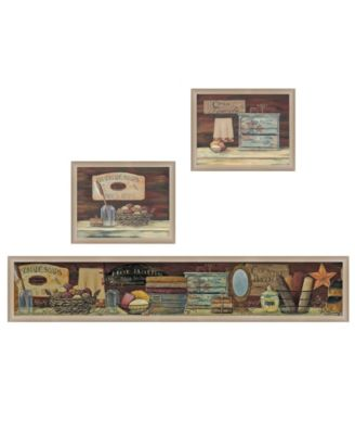 """COUNTRY BATH II 3-Piece Vignette by Pam Britten, Taupe Frame, 39"""" x 14"""""""