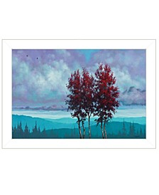 """Two Red Trees by Tim Gagnon, Ready to hang Framed print, White Frame, 21"""" x 15"""""""