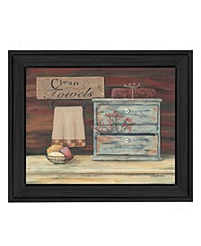 """Clean Towels By Pam Britton, Printed Wall Art, Ready to hang, Black Frame, 13"""" x 16"""""""