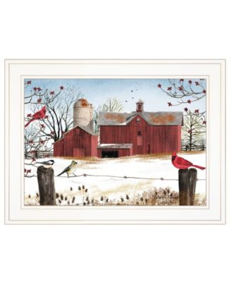 """Winter Friends by Billy Jacobs, Ready to hang Framed Print, White Frame, 19"""" x 15"""""""