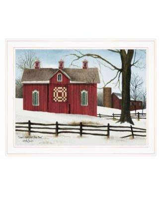"""Lover's Knot Quilt Block Barn by Billy Jacobs, Ready to hang Framed Print, White Frame, 27"""" x 21"""""""