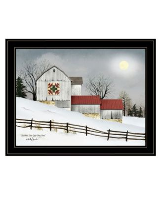 Christmas Star Quilt Block Barn by Billy Jacobs, Ready to hang Framed Print, Black Frame, 27