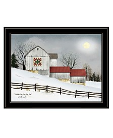 Trendy Decor 4U Christmas Star Quilt Block Barn by Billy Jacobs, Ready to hang Framed Print Collection