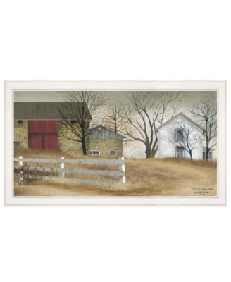 """The Old Stone Barn by Billy Jacobs, Ready to hang Framed Print, White Frame, 33"""" x 19"""""""