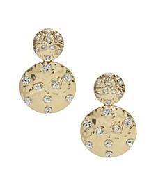 Double Crystal Studded Disc Earrings