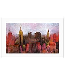 """Trendy Decor 4U NYC Skyline by Cloverfield Co, Ready to hang Framed Print, White Frame, 21"""" x 15"""""""