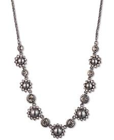 "Hematite-Tone Crystal & Imitation Pearl Flower Collar Necklace, 16"" + 3"" extender"