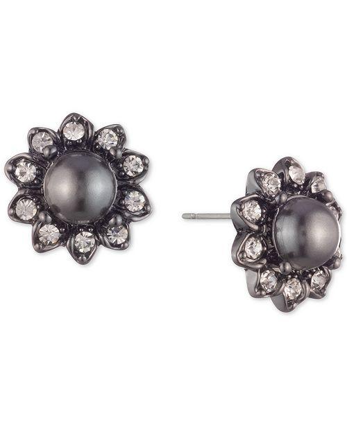 Marchesa Hematite-Tone Crystal & Imitation Pearl Flower Button Earrings