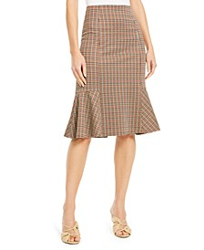 Petite Plaid Peplum Skirt