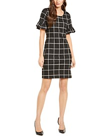 Petite Ruffle-Sleeve Tie-Back Dress