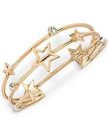Gold-Tone Crystal & Star Triple-Row Cuff Bracelet