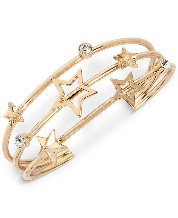 BCBGeneration Gold-Tone Crystal & Star Triple-Row Cuff Bracelet