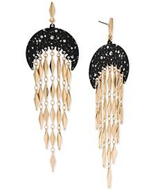 Gold-Tone Pavé Splatter Stone Moon & Chain Fringe Chandelier Earrings