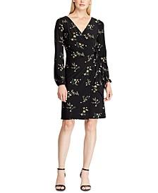 Petite Floral Tie-Front Jersey Dress