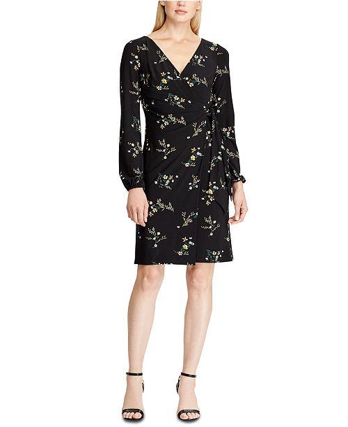 Lauren Ralph Lauren Floral Tie-Front Jersey Dress