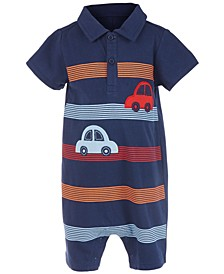 Baby Boys Striped Cars Cotton Sunsuit, Created For Macy's