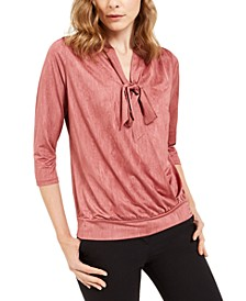 Petite Tie-Neck Top, Created For Macy's