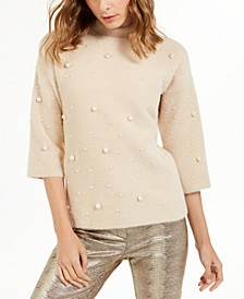Petite Scattered Faux-Pearl Sweater, Created For Macy's