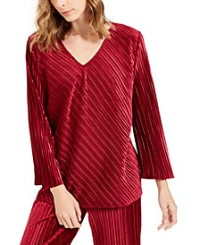V-Neck Ribbed Velvet Top, Created For Macy's