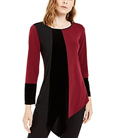 Petite Asymmetrical-Hem Colorblocked Top, Created For Macy's