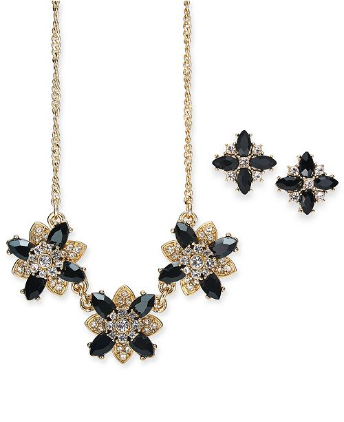 """Charter Club Gold-Tone 2-Pc. Set. Jet Stone & Crystal Cluster Stud Earrings & Pendant Necklace, 17"""" + 2"""" extender, Created for Macy's"""