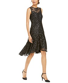 Petite Metallic-Lace Illusion High-Low Dress