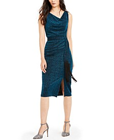 INC Belted Cowlneck Shimmer Dress, Created For Macy's