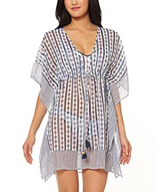 Moroccan Stripe Printed Caftan Swim Cover-Up