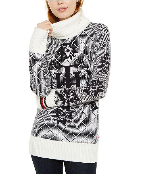 Tommy Hilfiger Logo Crest-Patterned Sweater