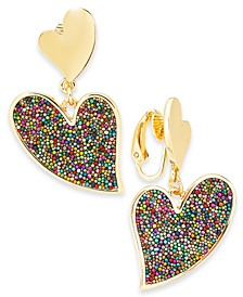 INC Gold-Tone Beaded Heart Clip-On Earrings, Created For Macy's