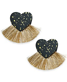 INC Gold-Tone Resin Heart Fringe Drop Earrings, Created For Macy's