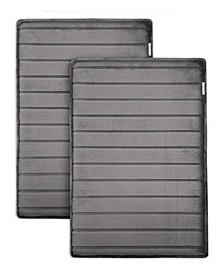 """Charcoal-Infused 17"""" x 24"""" 2-Pack Memory Foam Bath Mat Set"""