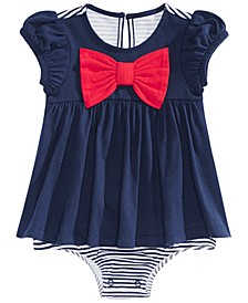 Baby Girls Bow-Front Cotton Skirted Sunsuit, Created for Macy's