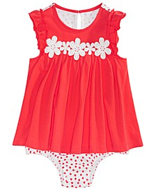 Baby Girls Crochet-Flowers Skirted Sunsuit, Created For Macy's