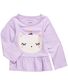 Toddler Girls Cotton Caticorn Peplum Hem T-Shirt, Created For Macy's