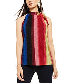 INC Petite Striped Tie-Neck Halter Top, Created For Macy's
