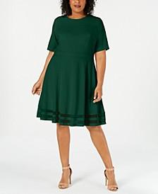 Plus Size Illusion-Trim A-Line Dress