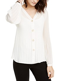 Pleated Button-Front Top, Created for Macy's